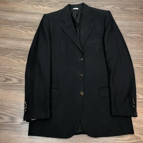 Brioni Solid Black Silk Blazer 38R